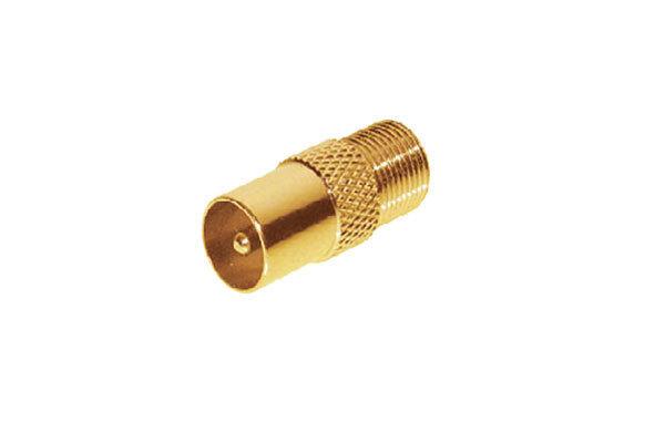 sat adapter koax stecker auf f buchse vergoldet ebay. Black Bedroom Furniture Sets. Home Design Ideas