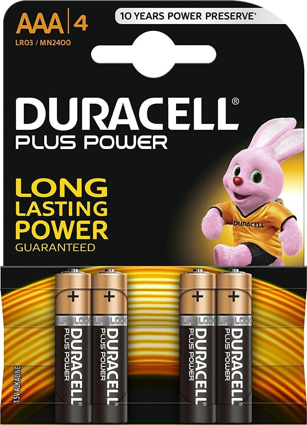 DURACELL Batterie Plus Power Alkaline MN2400 Micro AAA LR03 1,5V 4er-Bli